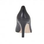 Pump shoe in black leather heel 7 - Available sizes:  46