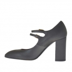 Woman's pump with two straps in gunmetal grey leather heel 9 - Available sizes:  42
