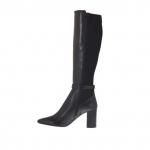 Bottines pour femmes avec courroie en cuir et tissu élastique noir talon 8 - Pointures disponibles:  42