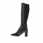 Woman's boot with buckle in black leather and elastic fabric heel 8 - Available sizes:  42