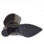 Bottines pour femmes avec boucle en cuir et tissu élastique noir talon 8 - Pointures disponibles:  42