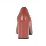 Escarpin pour femmes en cuir brique talon carré 7 - Pointures disponibles:  32