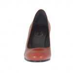 Women's pump shoe in brick red leather block heel 7 - Available sizes:  32