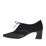 Woman's laced shoe in black leather and suede heel 5 - Available sizes:  32