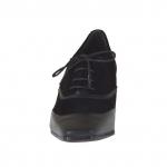 Chaussure a lacets pour femmes en cuir et daim noir talon 5 - Pointures disponibles:  32