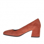 Woman's pump in brick red suede block heel 5 - Available sizes:  45