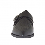 Woman's closed shoe with buckle in black leather and printed leather heel 1 - Available sizes:  45