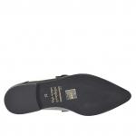 Chaussure fermée pour femmes en cuir et cuir imprimé noir avec boucle talon 1.5 - Pointures disponibles:  45