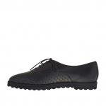 Chaussure fermée a lacets pour femmes en cuir et cuir imprimé noir talon compensé 1.5 - Pointures disponibles:  45