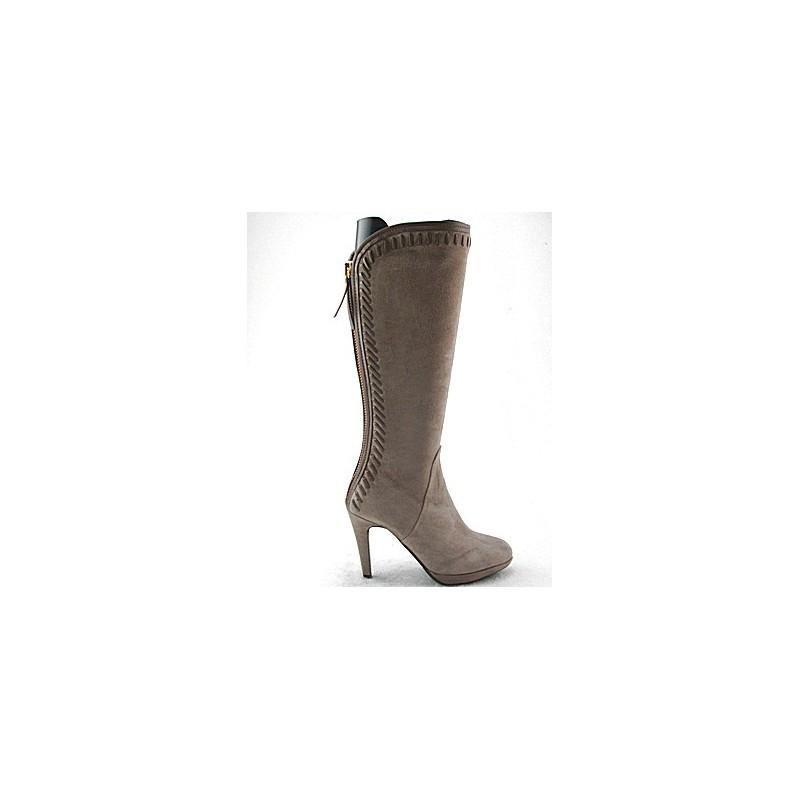 Boot avec plate-forme en daim beige - Pointures disponibles:  31