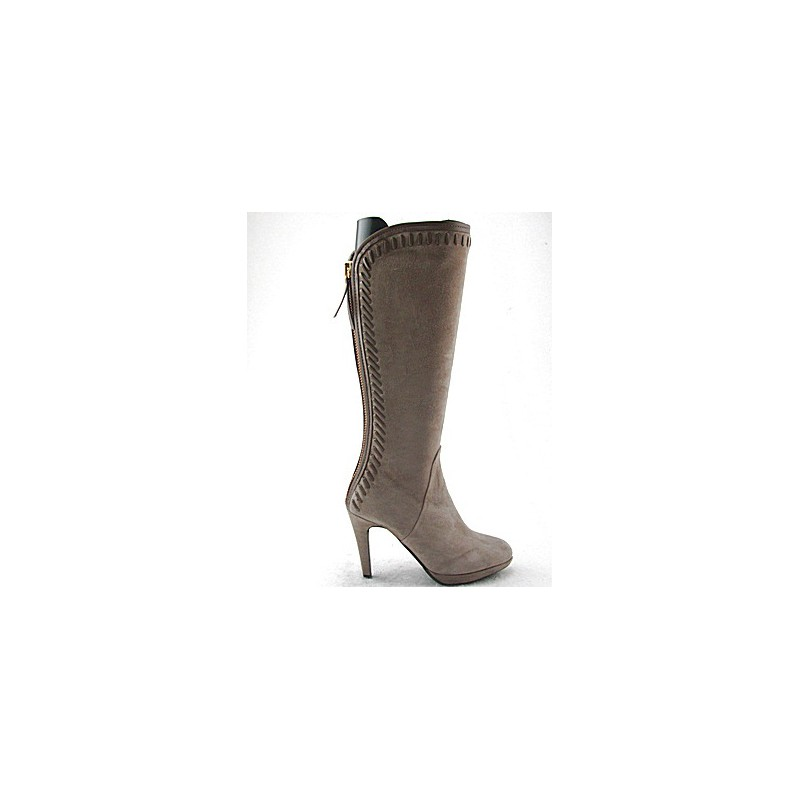 Boot with zipper and platform in beige suede heel 10 - Available sizes:  31