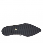 Woman's closed shoe with laces in black leather and printed leather wedge 1.5 - Available sizes:  34, 45