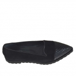 Woman's closed shoe in black suede and printed leather wedge 1.5 - Available sizes:  43