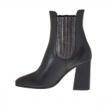 Woman's ankle boot with elastic bands in black leather and laminated gunmetal leather heel 8 - Available sizes:  34