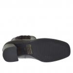Bottines pour femmes avec elastiques en cuir noir et cuir lamé bronze a canon talon 8 - Pointures disponibles:  34