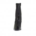 Bottines pour femmes avec fermeture éclair en cuir verni et cuir verni élastique noir talon 8 - Pointures disponibles:  34