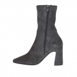 Woman's ankle boot with zipper in charcoal grey elastic suede heel 8 - Available sizes:  44