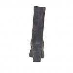 Bottines pour femmes avec fermeture éclair en daim élastique gris-noir talon 8 - Pointures disponibles:  44