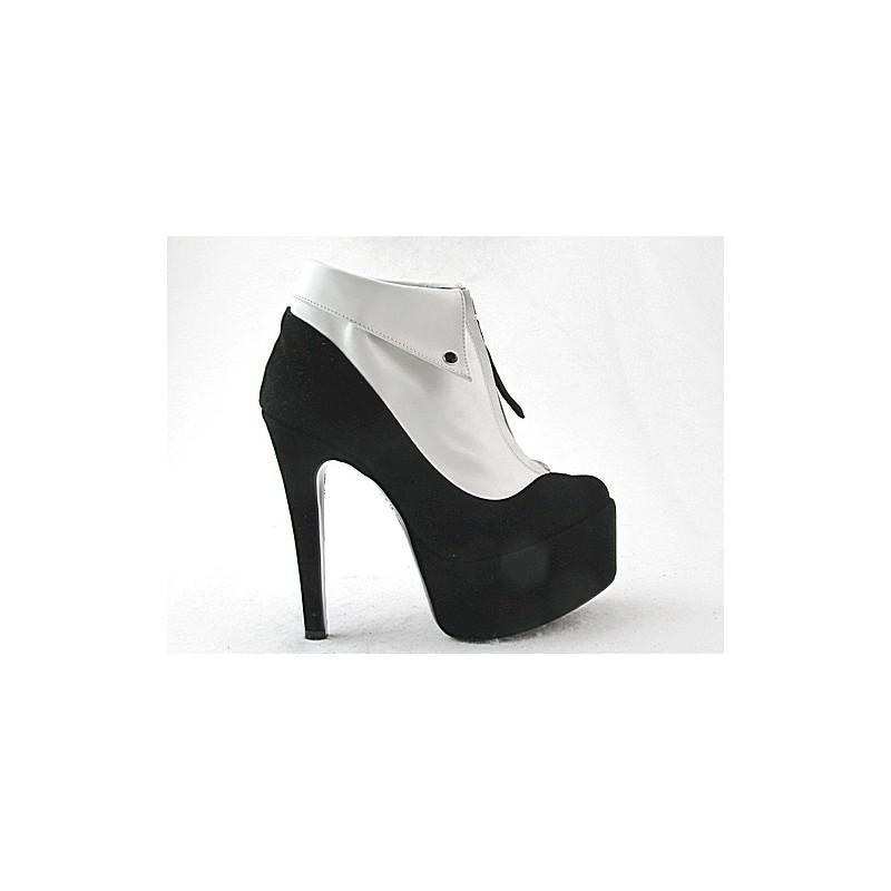 forme 520601-cheville en cuir suédé noir + blanc - Pointures disponibles:  42
