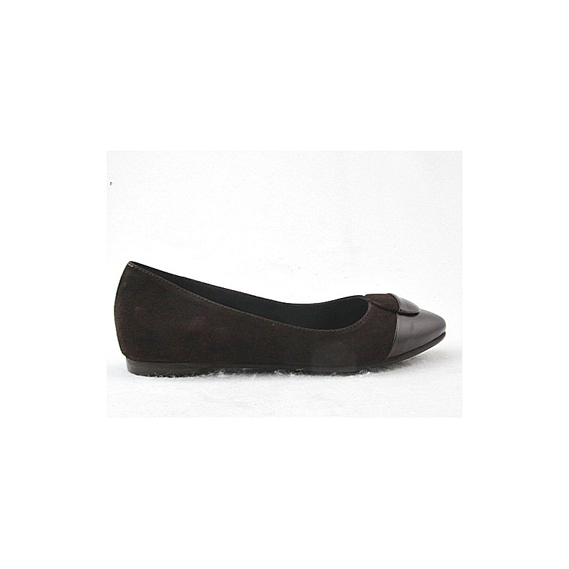 Ballerina with button in brown leather and suede heel 1 - Available sizes:  32