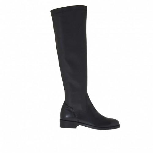 Bottes pour femmes en cuir et cuir élastique noir talon 3 - Pointures disponibles:  32