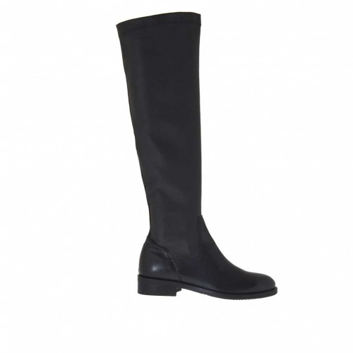 Woman's boot in black leather and elastic leather heel 3 - Available sizes:  32