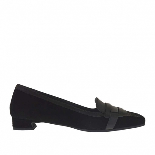 Woman's closed shoe in black leather and suede and silver laminated leather heel 1.5 - Available sizes:  34