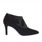 Woman's closed shoe in black suede and elastic patent leather heel 7 - Available sizes:  42, 43