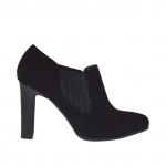 Woman's ankle-high platform shoe with elastic band in black suede and leater heel 9 - Available sizes:  42