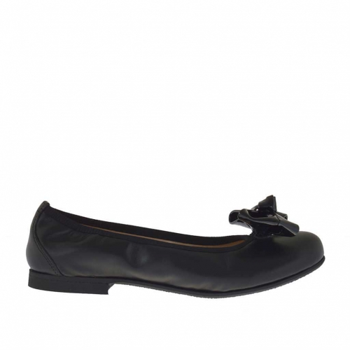 Woman's ballerina shoe in black leather with vanished bow heel 1 - Available sizes:  33