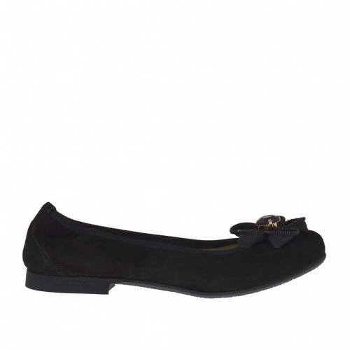 3847af2788c3d Ballerina chaussure pour femmes en daim noir avec fleur talon 1 - Pointures  disponibles  33