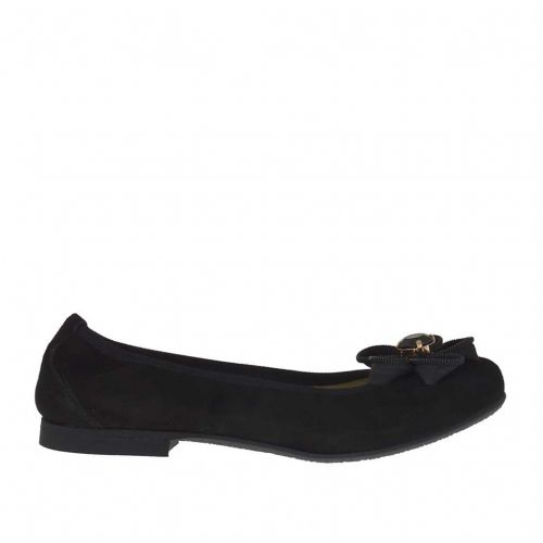 Woman's ballerina shoe in black suede with flower heel 1 - Available sizes:  33