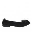 Ballerina chaussure pour femmes en daim noir avec fleur talon 1