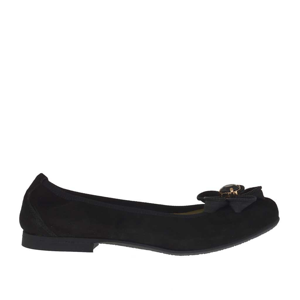 ballerina chaussure pour femmes en daim noir avec fleur talon 1 ghigocalzature. Black Bedroom Furniture Sets. Home Design Ideas