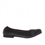Woman's ballerina shoe with studs in black leather heel 1 - Available sizes:  33