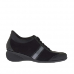 Woman's laced sports shoe in black leather, suede and patent leather and gunmetal leather wedge 5 - Available sizes:  42