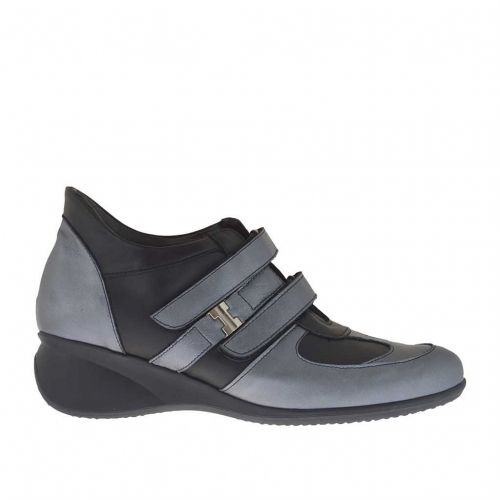 Woman's sports shoe in black and gunmetal leather with velcro bands and metal accessory wedge 5 - Available sizes:  42