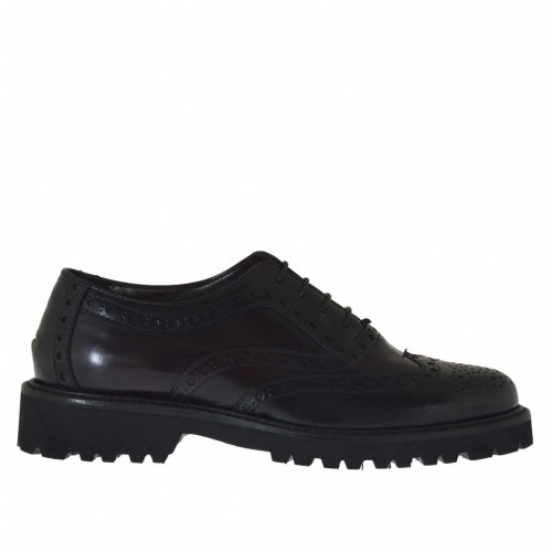 Woman's laced Oxford shoe in maroon and black brush-off leather heel 3 - Available sizes:  32
