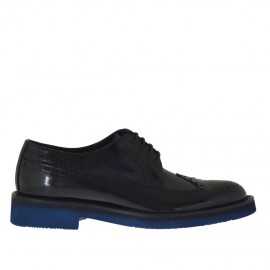 Men's laced derby shoe in blue and black brush-off leather - Available sizes:  36