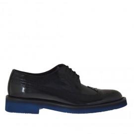 Oxfordschuh mit Schnürsenkeln für Herren aus blauem und schwarzem gebürstetem Leder - Verfügbare Größen:  36