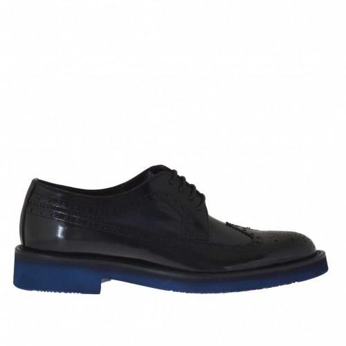 Chaussure derby pour hommes avec lacets en cuir brossé bleu et noir - Pointures disponibles:  36