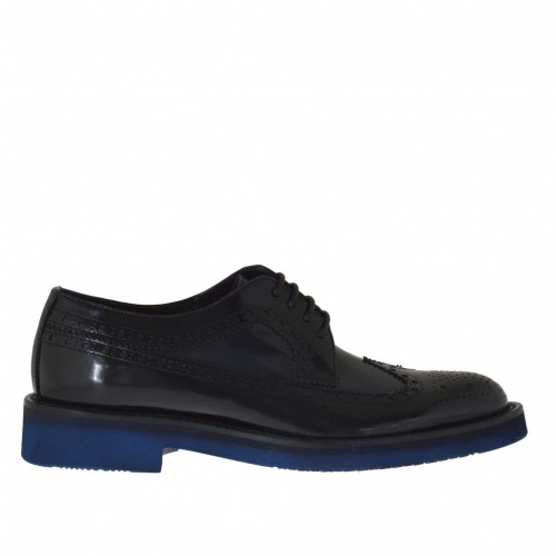 Men's laced derby shoe with Brogue pattern in blue and black brush-off leather - Available sizes:  36