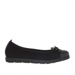 Woman's ballerina shoe in black suede and patent leather wedge 2 - Available sizes:  32
