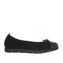 Ballerina chaussure pour femmes en daim et cuir verni noir talon compensé 2