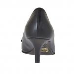 Chaussure fermée pour femmes en cuir noir et cuir lamé argent talon 5 - Pointures disponibles:  32