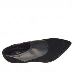 Chaussure fermée pour femmes en daim noir et cuir verni élastique talon 7 - Pointures disponibles:  42, 43