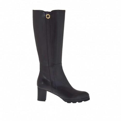 Bottes pour femmes en cuir noir avec goujon talon 6 - Pointures disponibles:  42
