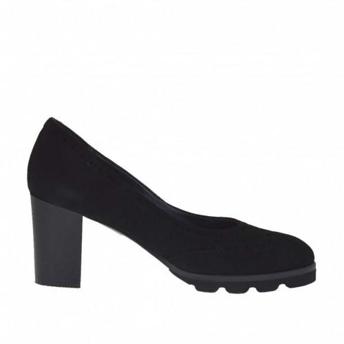 Escarpin pour femmes mode anglaise en daim noir talon 7 - Pointures disponibles:  32