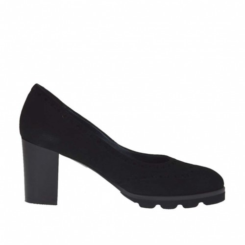 Woman's pump Oxford style in black suede heel 7 - Available sizes:  32