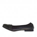 Woman's ballerina shoe with studs in black leather heel 1